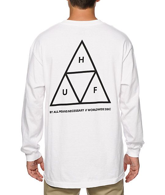 Get a crisp new HUF style with a triple triangle logo graphic at the left  chest