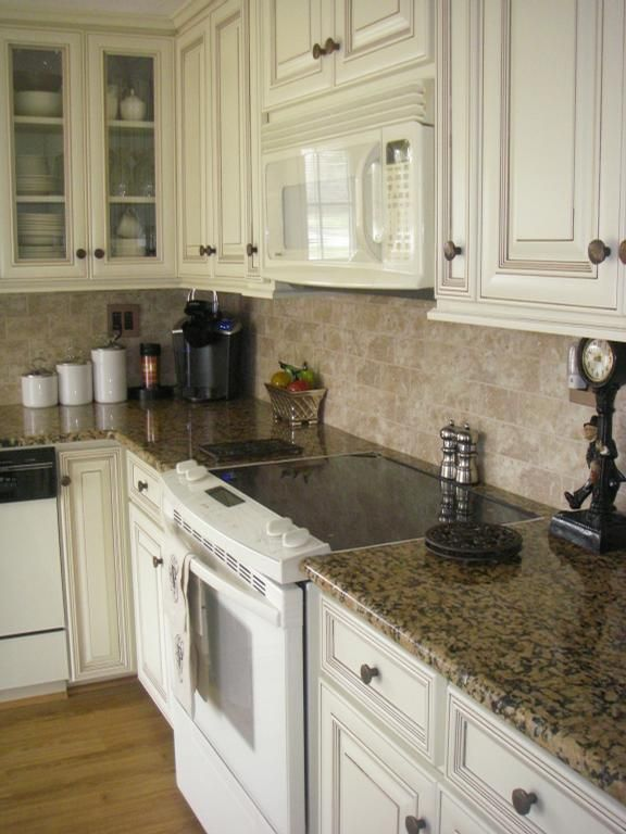 Cabinet Color Alder Distressed White Granite Counters Think Thats On My List For Distressed Kitchen Cabinets Kitchen Design Decor Home Depot Countertops