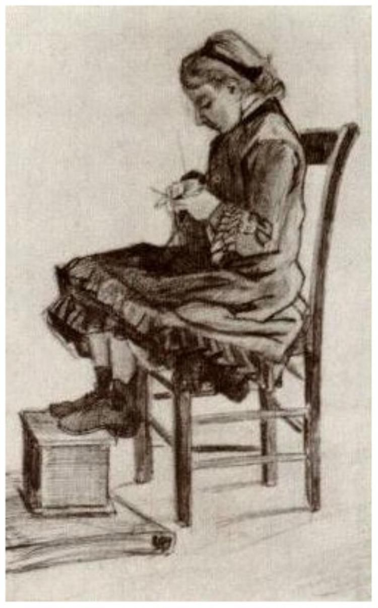 Girl Sitting, Knitting. Pencil drawing by Vincent Van Gogh. 1882