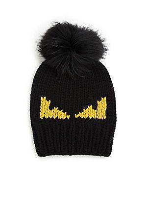 ed7e94d8824f9 Fendi Monster Fur Pom-Pom Beanie - Black-Yellow - Size No Size ...