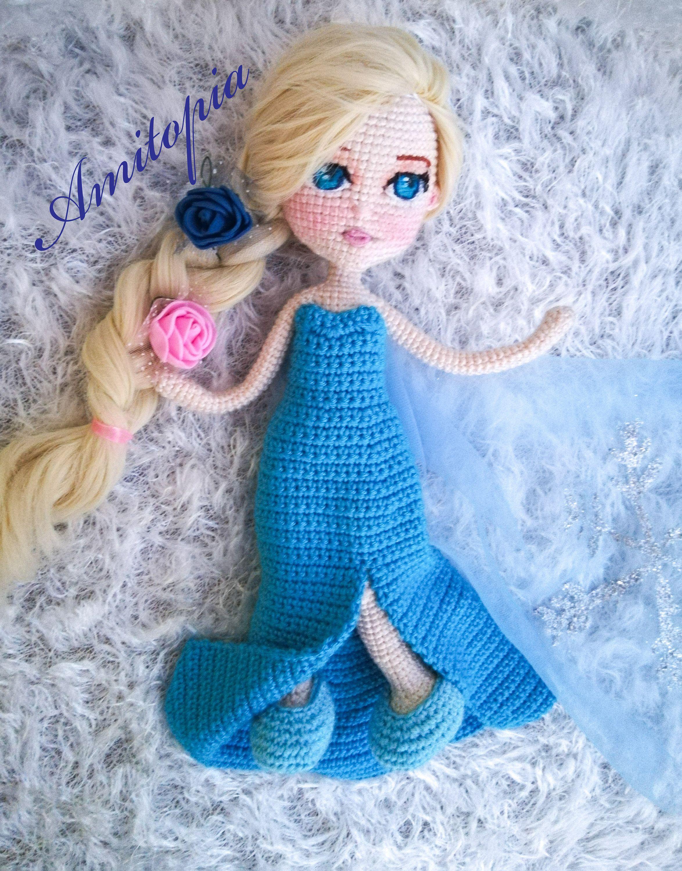 Crochet amigurumi doll pattern elsa snow queen in 2020