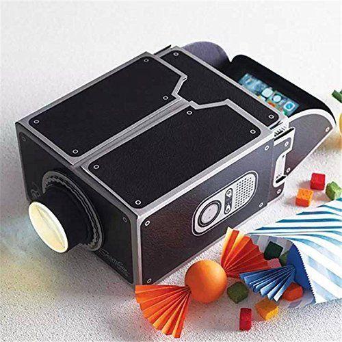 ELEGIANT 8x Zoom Portable DIY Cardboard Cinema Smartphone Mobile Phone Projector for iPhone 6 5s Sumsang (Black)