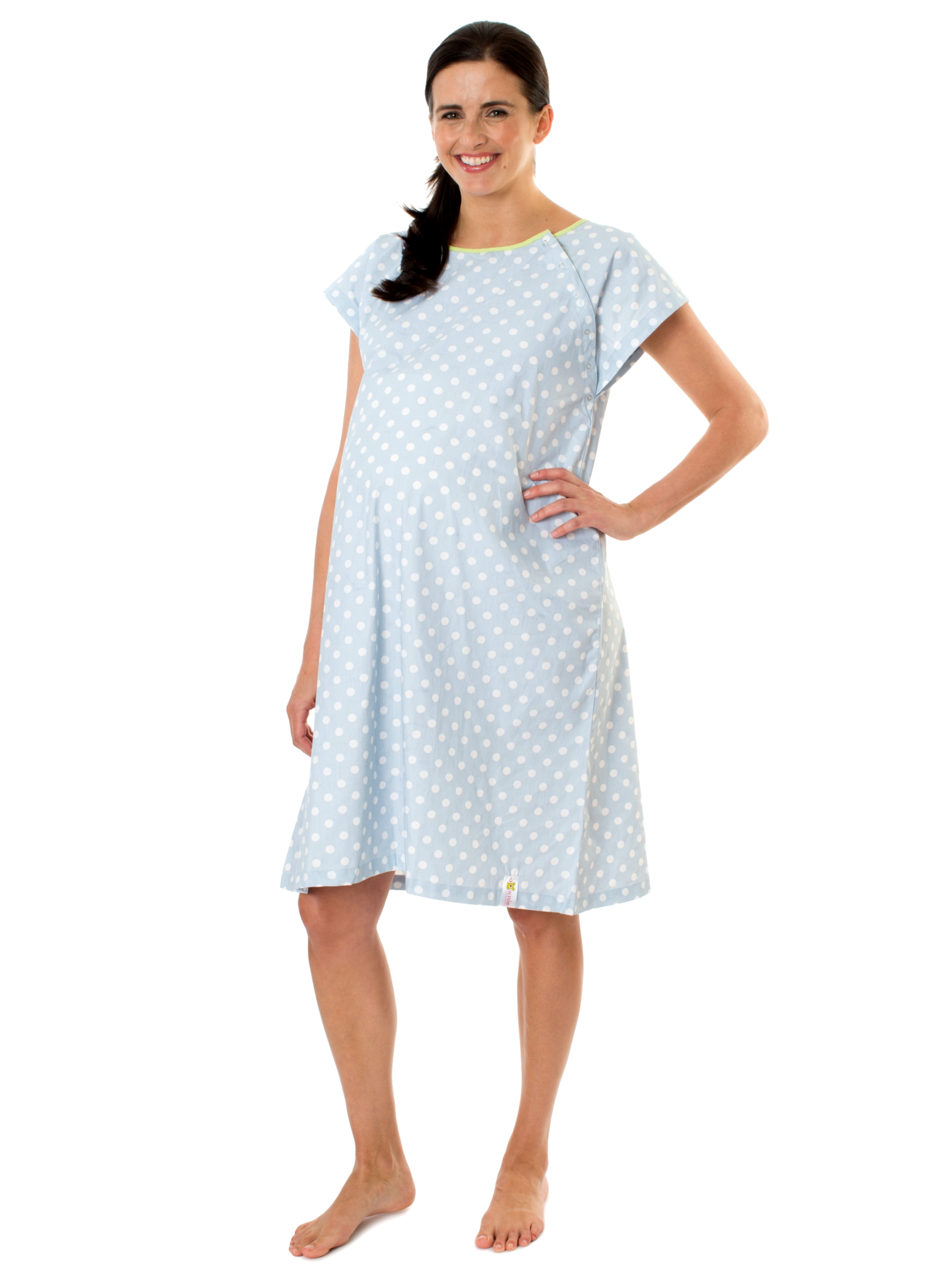 c19d4a91a12 Nicole Gownie- the original labor hospital gowns by Baby Be Mine Maternity.  Deliver in style and comfort. Soft baby blue with white dots. Comes in 3  sizes.