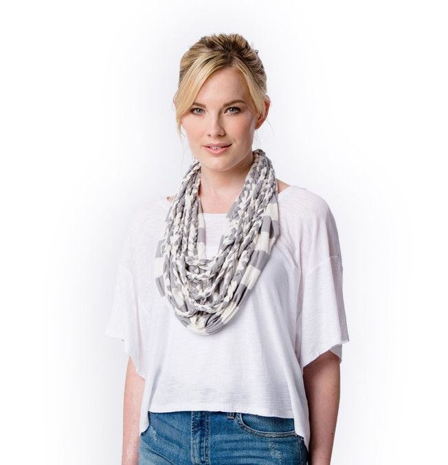 Gray and White Infinity Braided Layered Scarf- Banded