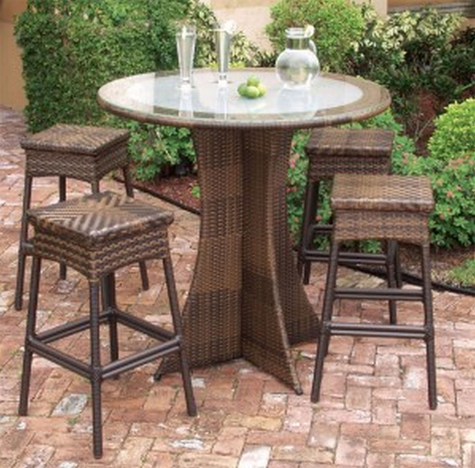 5 Classy Outdoor Coffee Table Ideas Luhomes Round Metal An Exotic Brown Rattan Plait With Classic Leg And Four Wicker Chairs Surrounding It Be Cover 30   ...