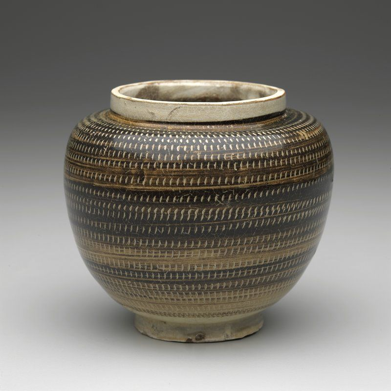 Jar with Rouletted Decoration, 11th-12th century, Song dynasty. Cizhou ware.