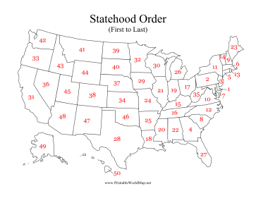 Each State In This Printable US Map Is Numbered In The Order - Us map numbered