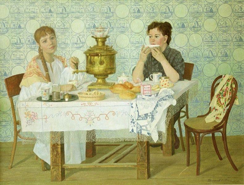 открытка ссср молодожены пьют чай хочу поделится вами