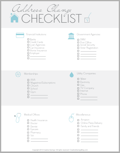 This Free Address Change Checklist Is A Handy Reminder For Anyone Who Is Considering A Big Move Or Just Recently M Moving Tips Moving Packing Moving Checklist