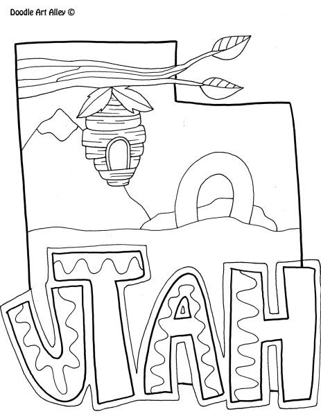 Utah State Coloring Page Coloring Pages Doodle Coloring Coloring Pages For Boys