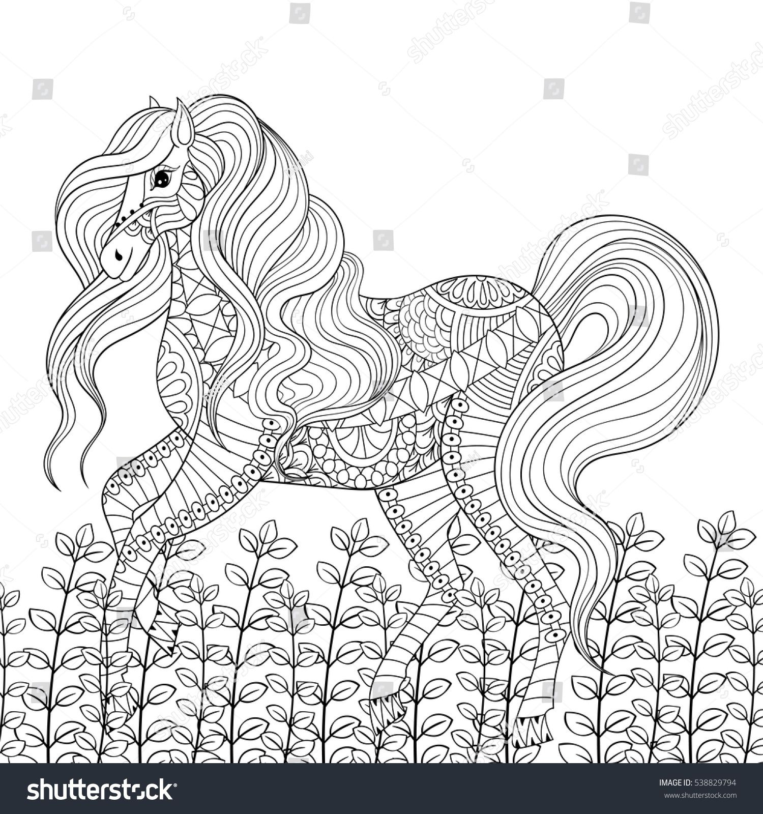 Racing horse adult anti stress coloring page. Hand drawn zentangle mustang for colouring, book cover, art therapy, greeting card, t-shirt print, patterned ethnic decoration elements