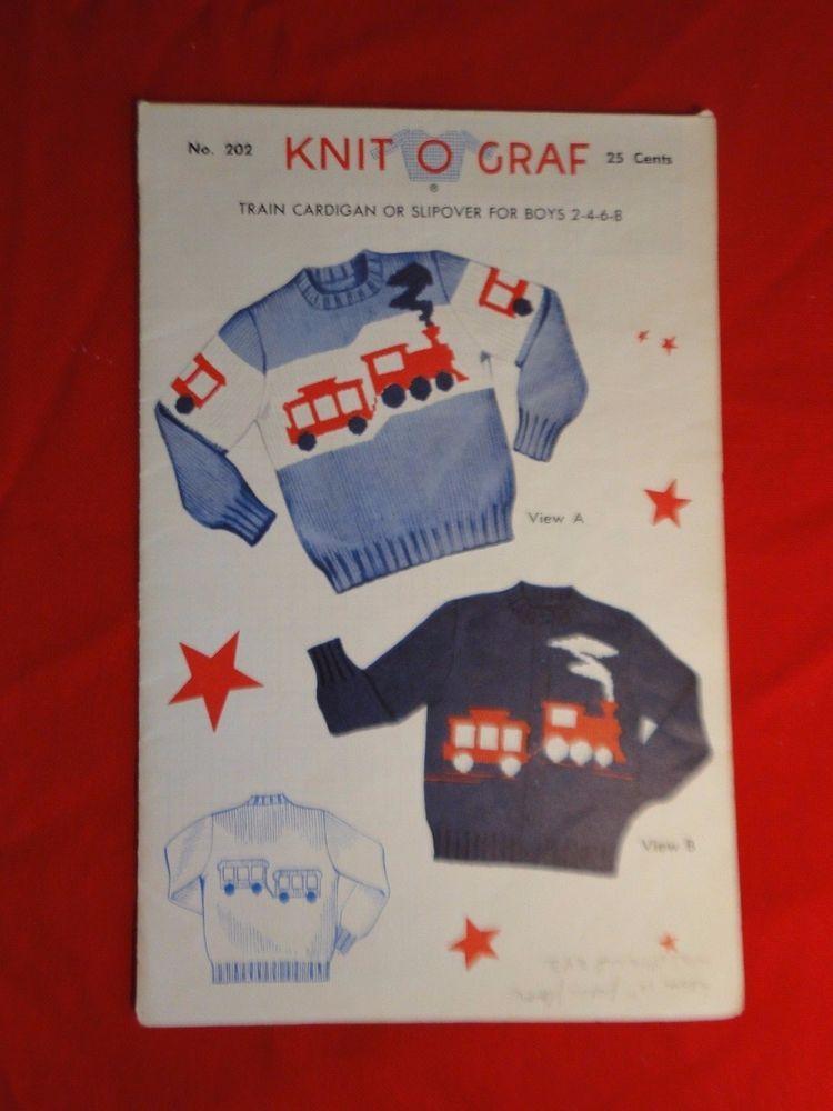 1954 Knit O Graf Knitting Graph Pattern Boys Train 2 Style Sweater