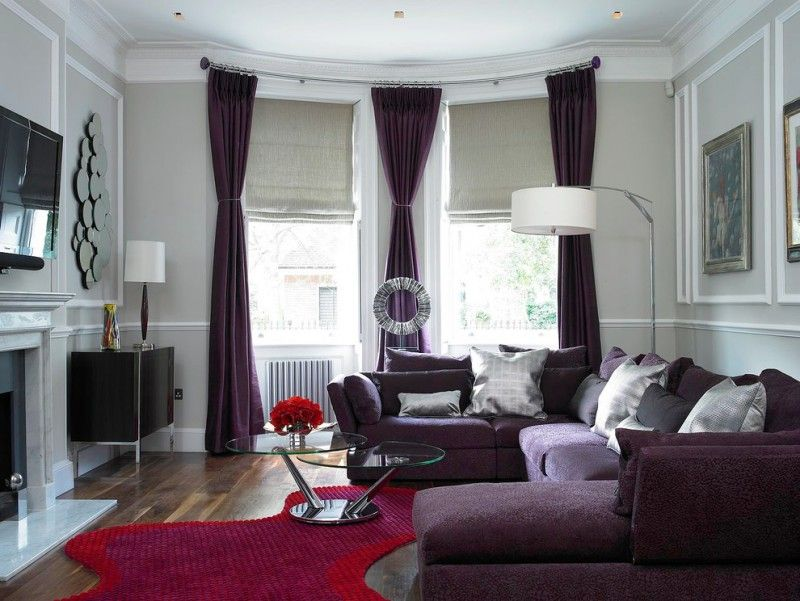 Purple Sofa Multi Circle Mirror Purple Curtains Unique Red Rug