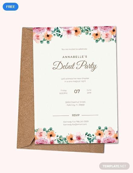 Free Formal Debut Invitation Printable Party Invitation