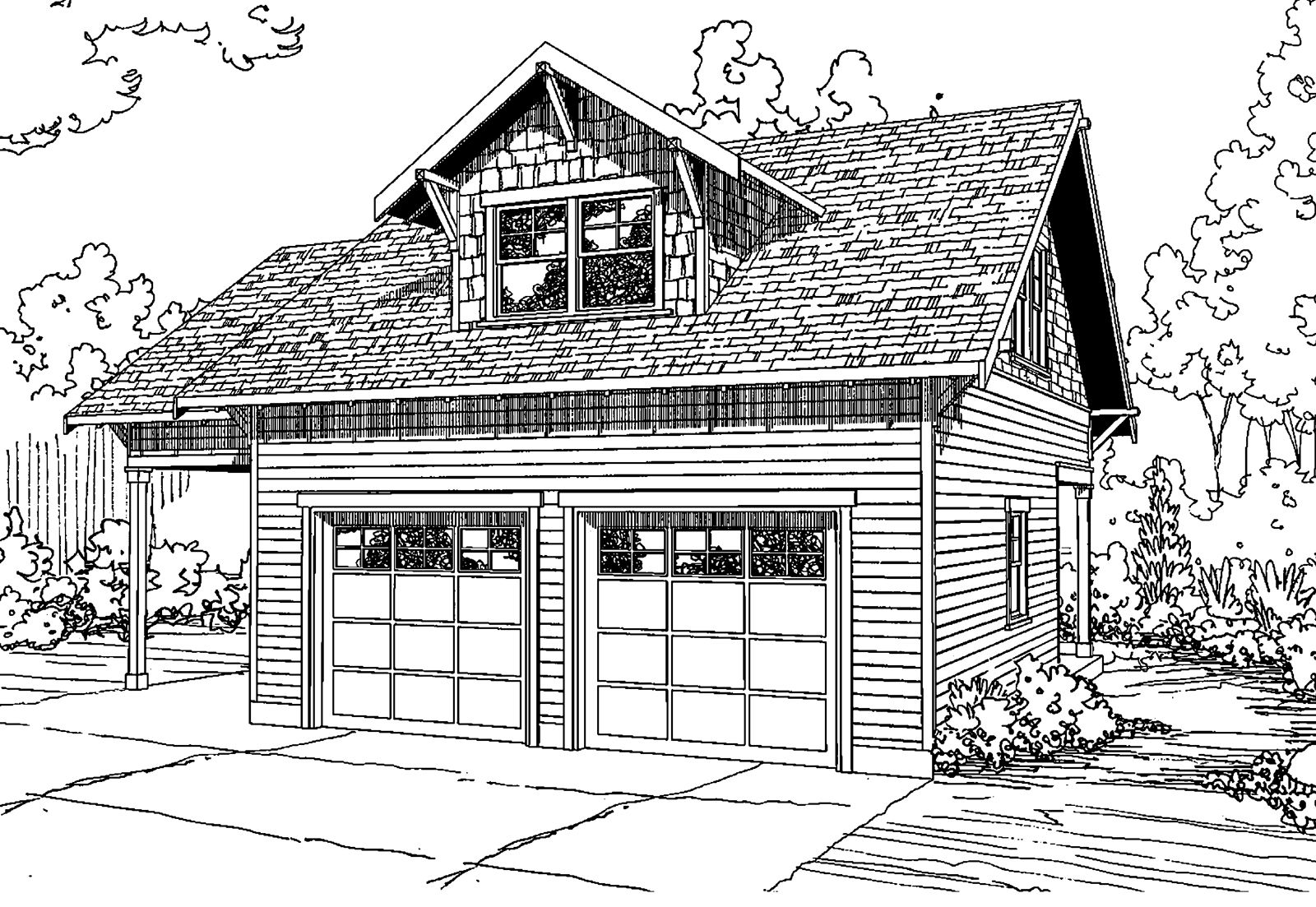 Garage Plan 20 111 This Craftsman Garage Plan Can House Two Cars Plus One Extra In The Attached Carport Up Garage Plans With Loft Garage Plans Garage Plan