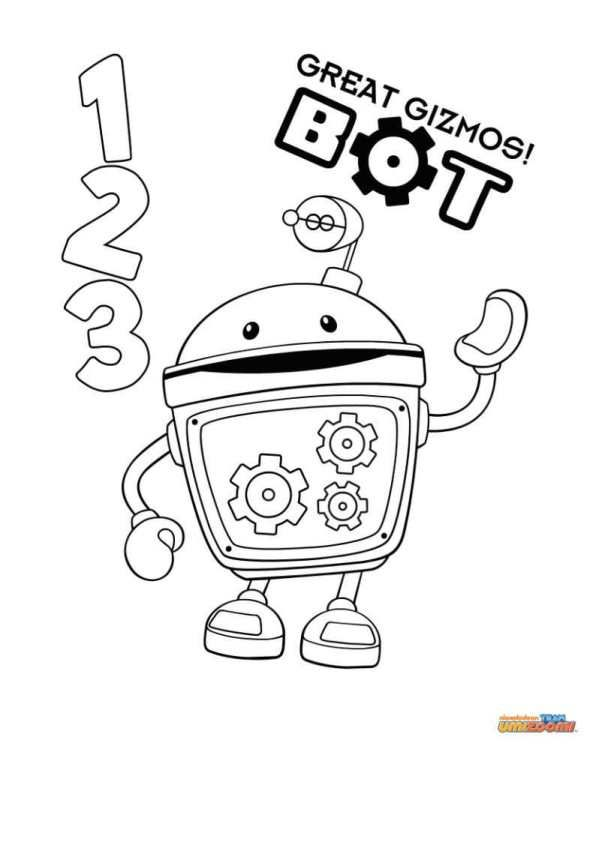 kids n fun coloring page team umizoomi bot color sheets