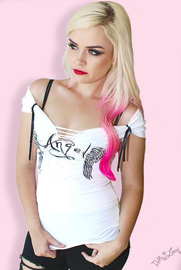 Angel Heart Slashed Top White Vampirefreaks Gothic Clothing Cyber Goth Punk Metal Alternative Rave Freak Fashions