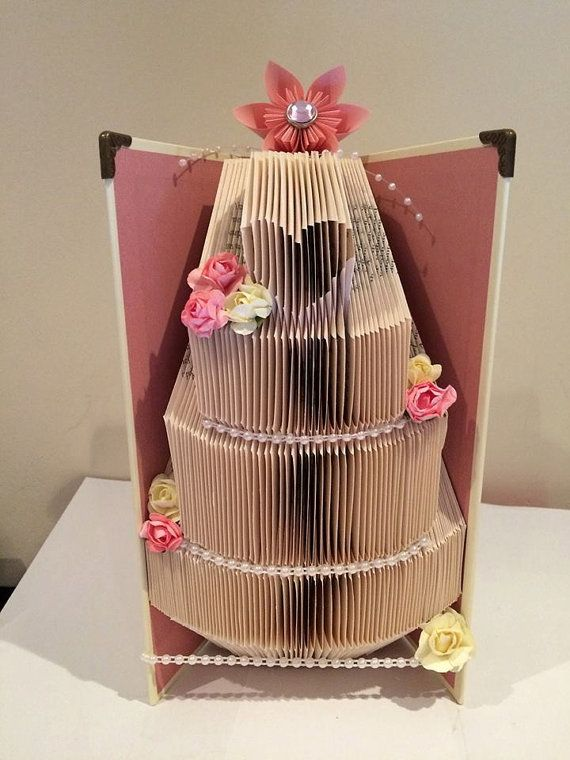 wedding cake book folding pattern 194 folds by JellyBeanBookArt