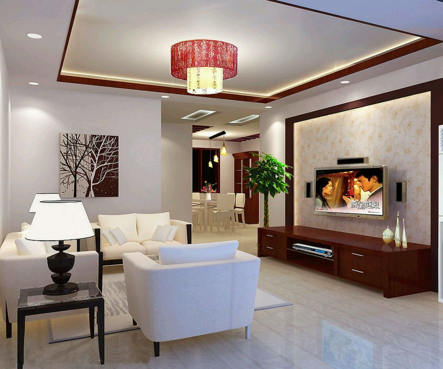 Contemporary Ceiling Design With Red Outline Simple Cei