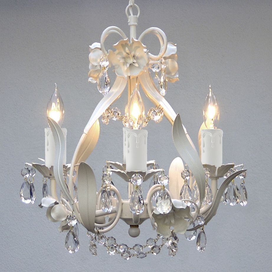 White Iron Crystal Flower Chandelier Lighting W Pink Hearts Swag Plug In Feet Of Hanging Chain And Wire