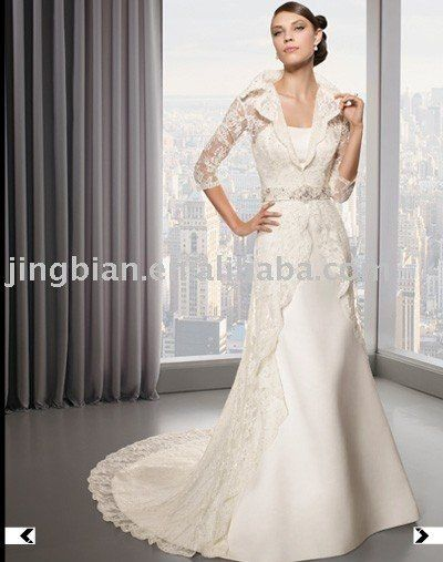 Gown Alternative With Lace Coat Overlay Collar