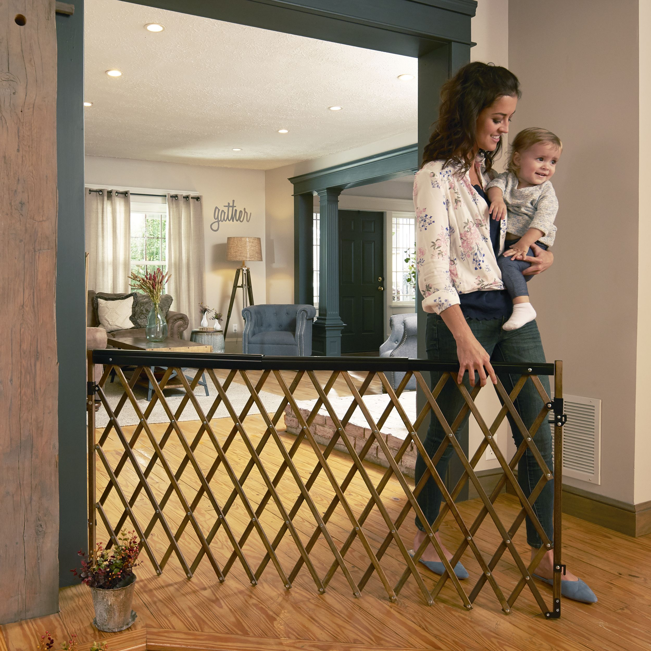 Farmhouse Collection Expansion Walk Thru Baby Gate The Evenflo