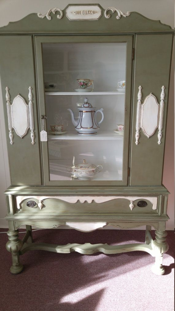 1930u0027s Hand Painted Antique China Cabinet Hutch.