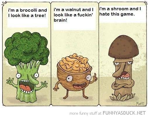 Funny Broccoli Walnut Mushroom Comic Look Like Hate This Game