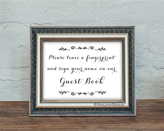 Guest book sign wedding guest book sign printable fingerprint guest book sign wedding guest book sign printable fingerprint tree instruction sign 2 sciox Gallery