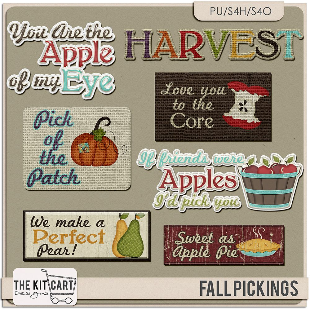 Personal Use :: Element Packs :: Fall Pickings Word Art