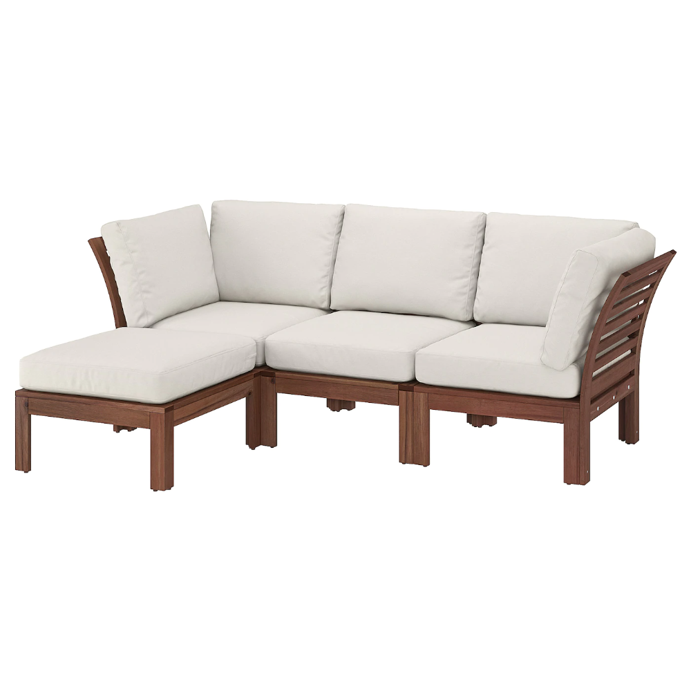 Applaro 3 Seat Modular Sofa Outdoor With Footstool Brown Stained Brown Stained Froson Duvholmen Beige Ikea In 2020 Modular Sofa Modular Corner Sofa Outdoor Lounge Furniture