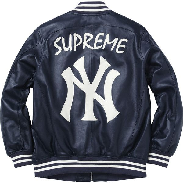 7fddf70d7b74 Supreme New York Yankees  Supreme  47 Brand Leather Varsity Jacket ❤ liked  on Polyvore featuring outerwear