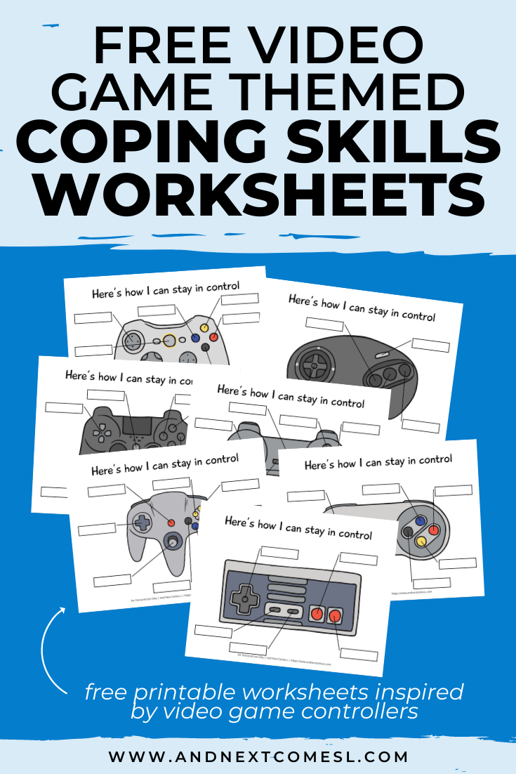 Free Printable Video Game Controller Themed Coping Skills Worksheets Coping Skills Worksheets Coping Skills Activities Kids Coping Skills