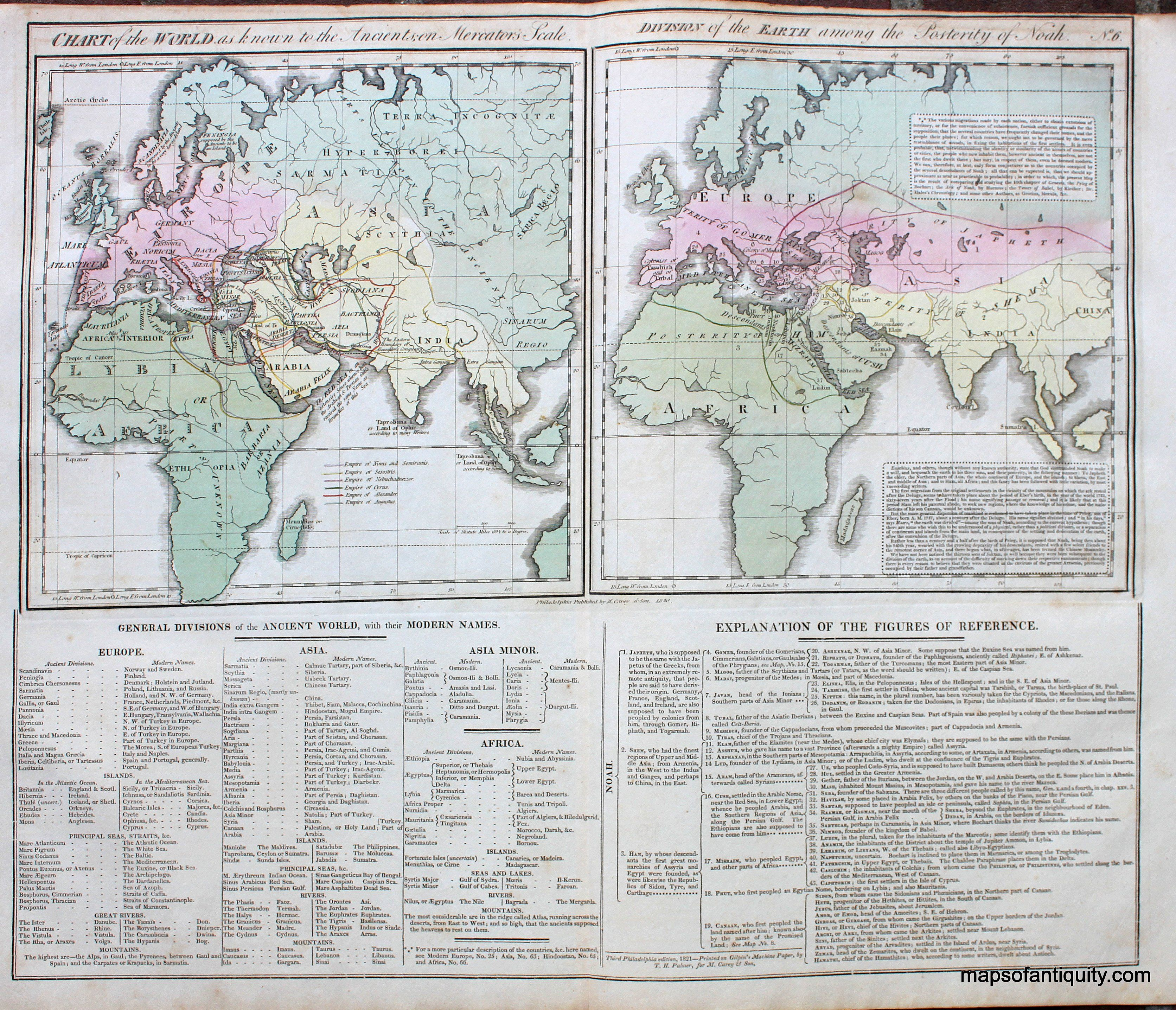 Hand colored antique map of a chart of the world as known to the hand colored antique map of a chart of the world as known to the ancients on gumiabroncs Image collections