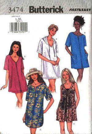 2e73c20b1e Butterick Sewing Pattern 3474 Misses Size 6-14 Easy Hooded Bathing Suit  Beach Cover-up
