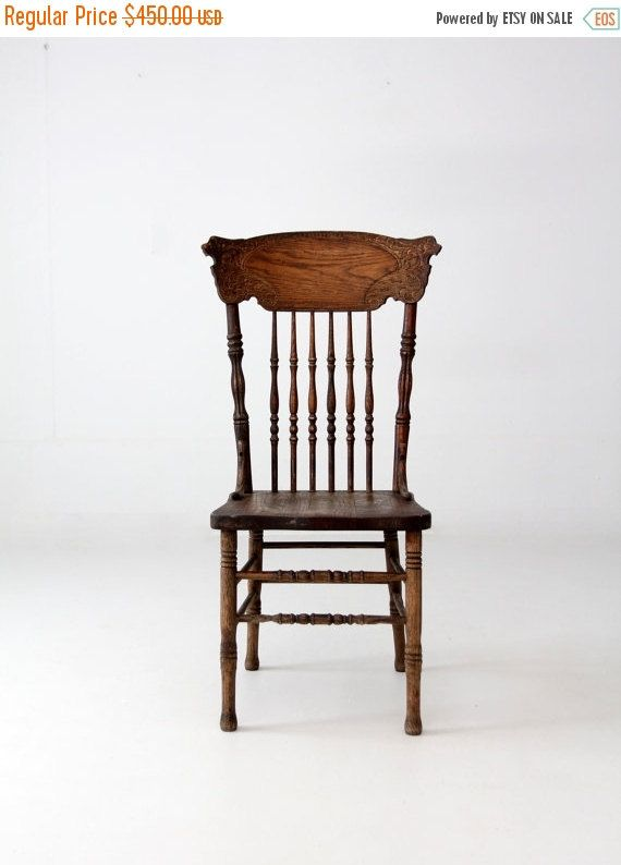 Sale Antique Oak Pressed Back Chair By 86home On Etsy Chair Antique Oak Furniture Antique Dining Tables