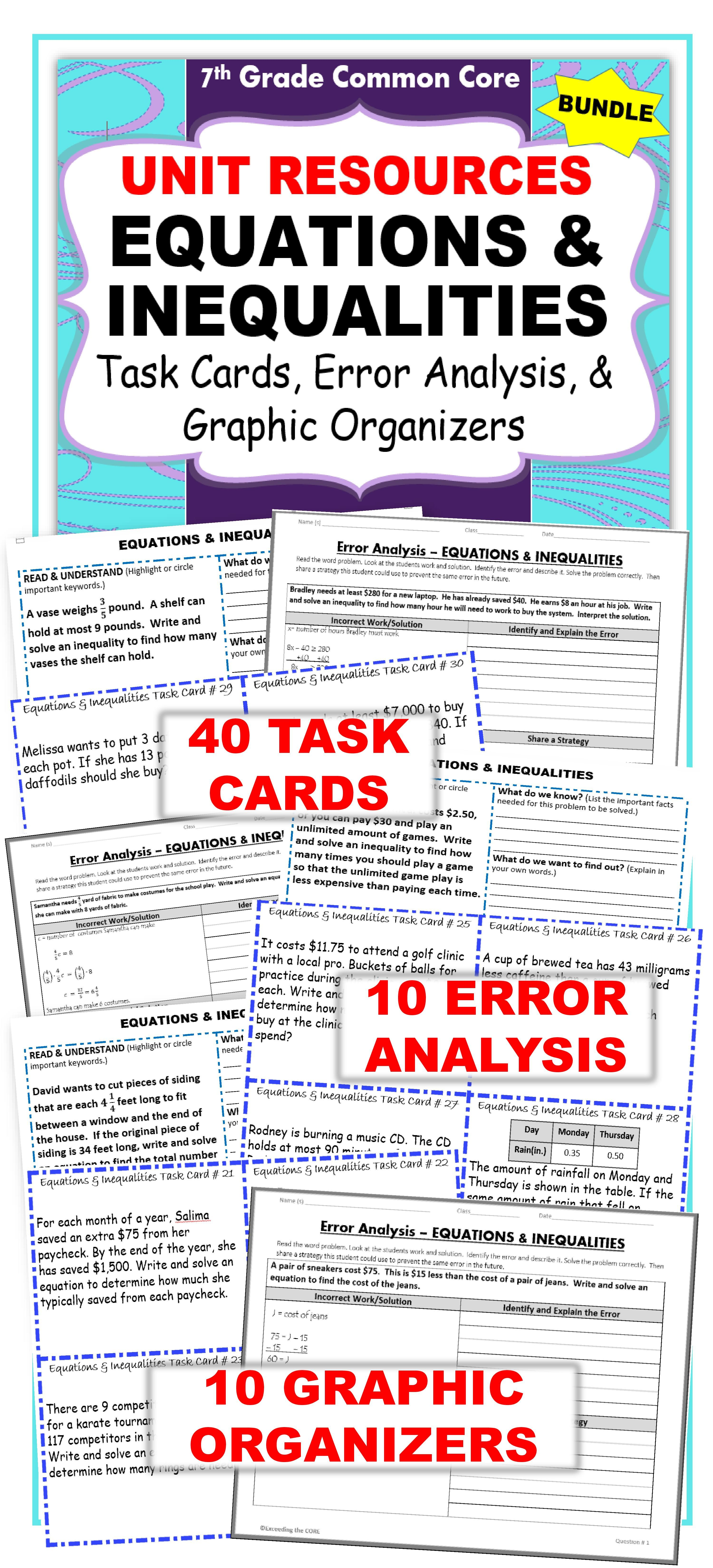 Equations Amp Inequalities Bundle Task Cards Errorysis