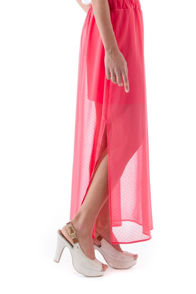Coral chiffon crepon maxi skirt with splits. Melacerba, Made in Italy