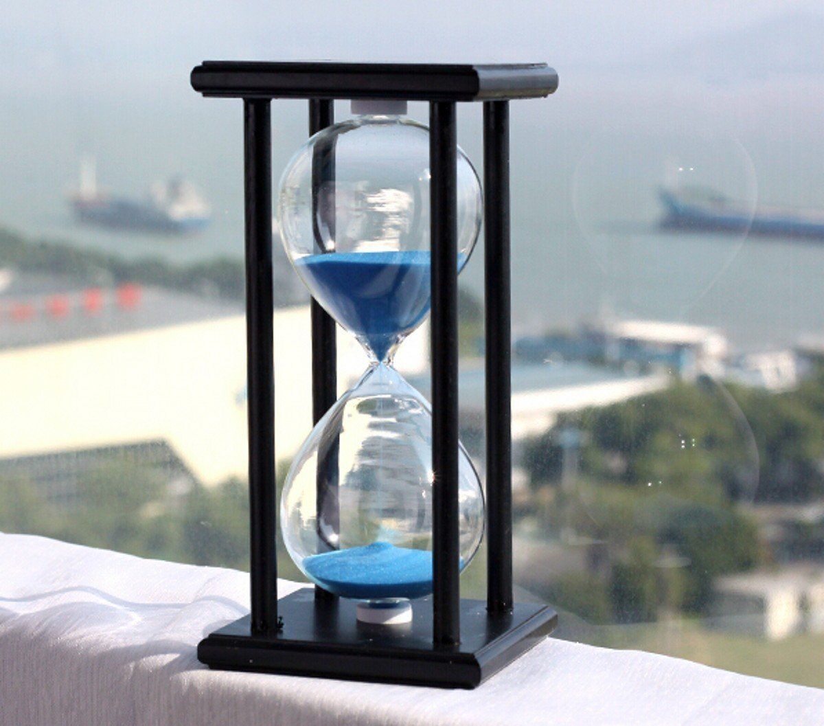 Hourgl Sand Timer 60 Minute 1 Hour Wood For Kitchen Office School And Decorative Use Black Stand With Blue Color
