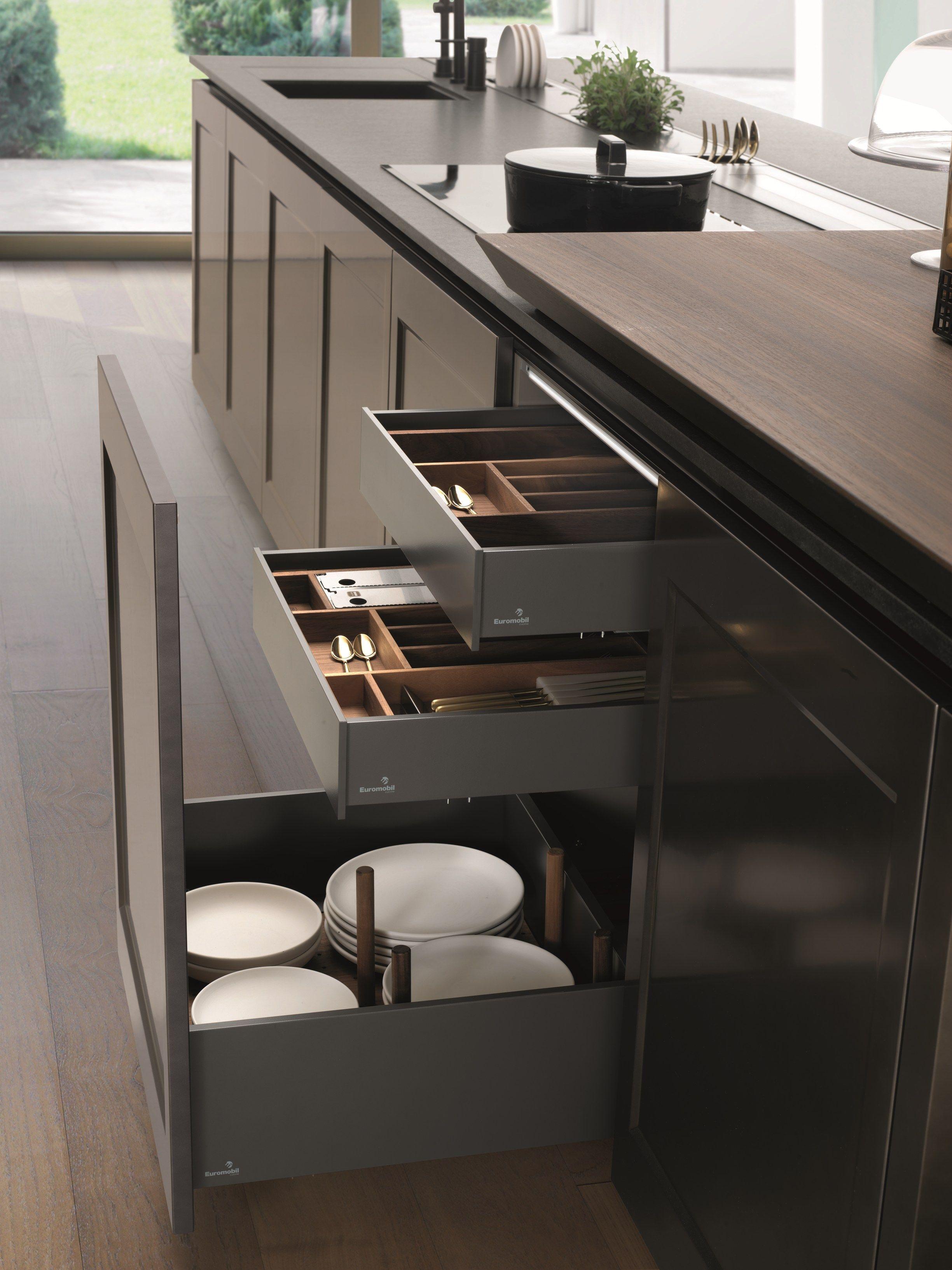 Cocina lacada con isla fil by euromobil dise o roberto - Cocinas diseno moderno ...