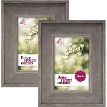 Better Homes and Gardens 4x6 Rustic Wood Picture Frame, 2pk ...