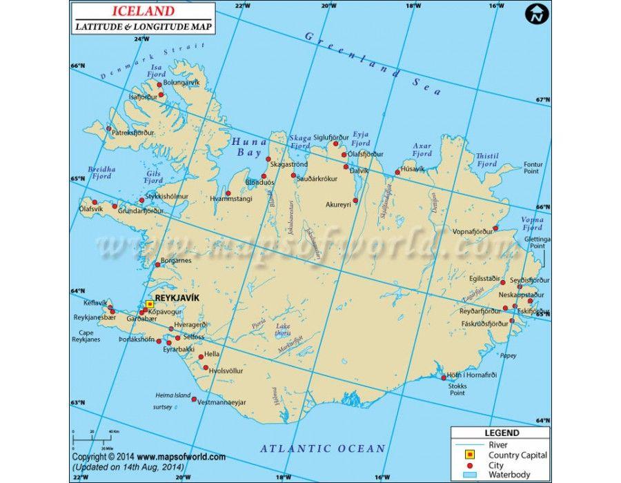Buy Iceland Latitude And Longitude Map Latitude And Longitude