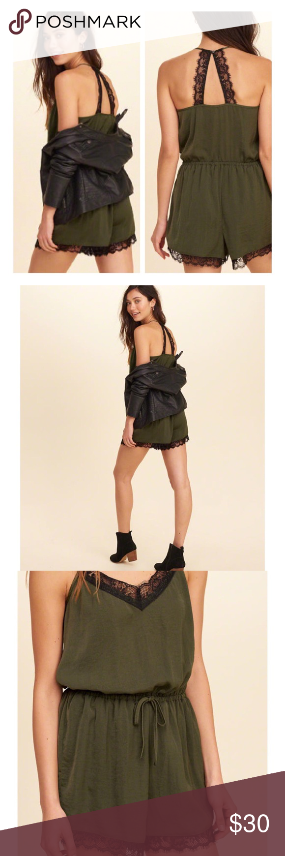🐍Lace trim satin romper🐍 Fall ready romper with black lace trim Comfy and cute, and 100% on trend this season 😊 Hollister Pants Track Pants & Joggers