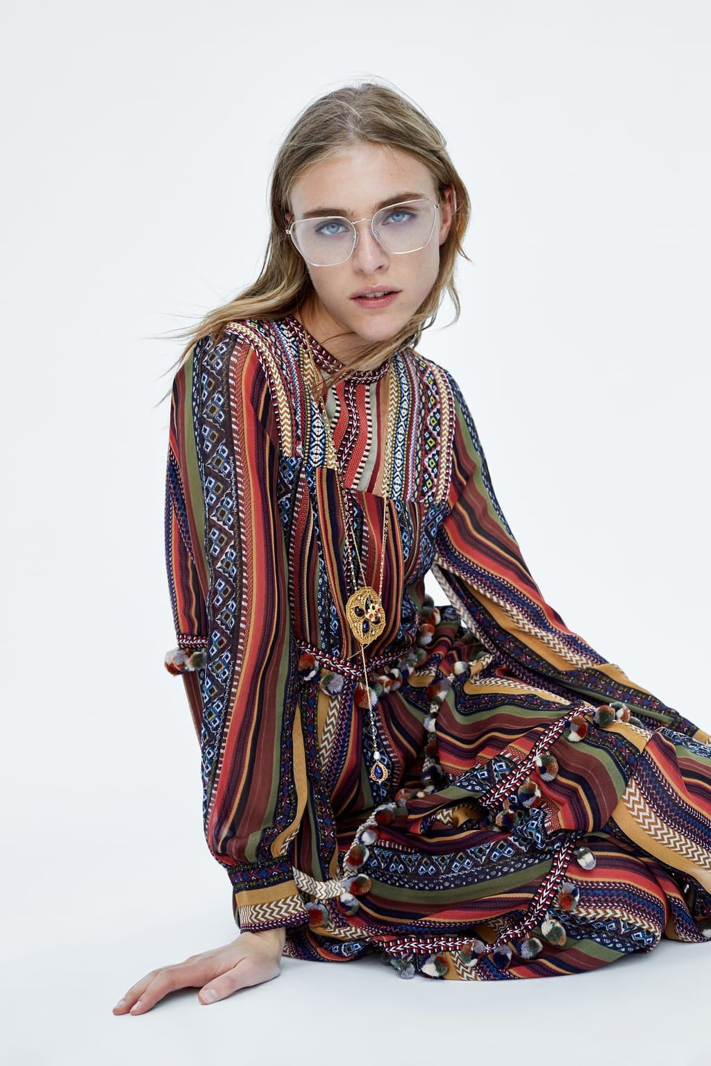 a49d9556 Image 2 of STRIPED DRESS WITH POMPOMS from Zara | Sos rebrand in ...