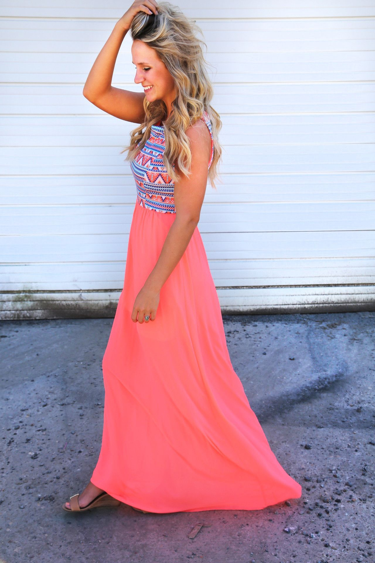 Peachy aztec sunset maxi ropa pinterest aztec clothes and prom