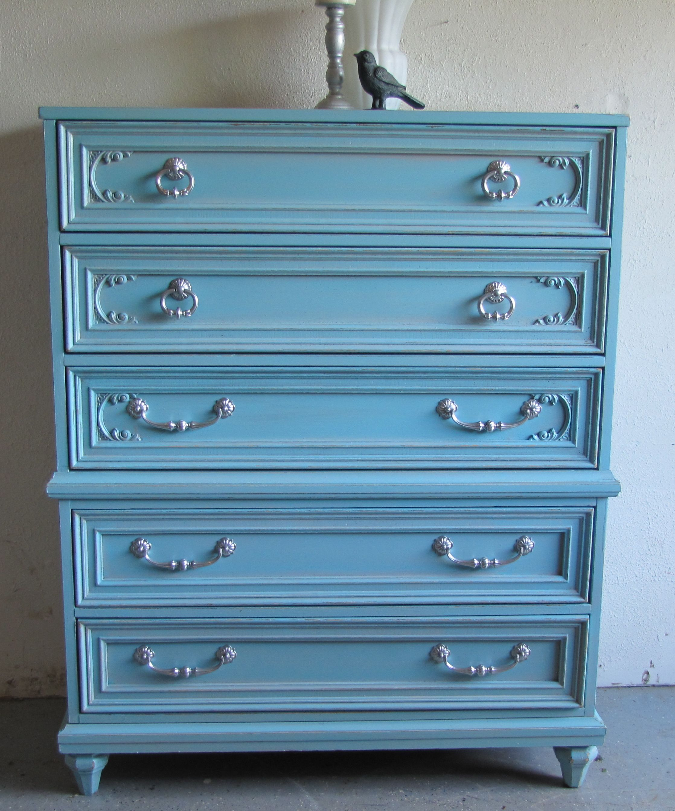 Vintage bassett tiffany blue distressed dresser with silver metallic glaze