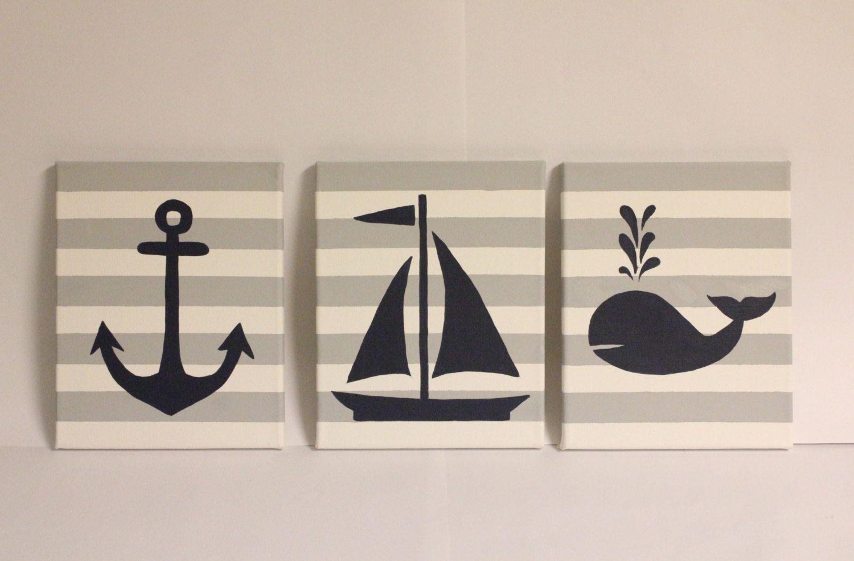 Nautical Nursery Wall Decor Boy Beach Room 8x10 Acrylic Paintings Sailboat Anchor Whale Theme