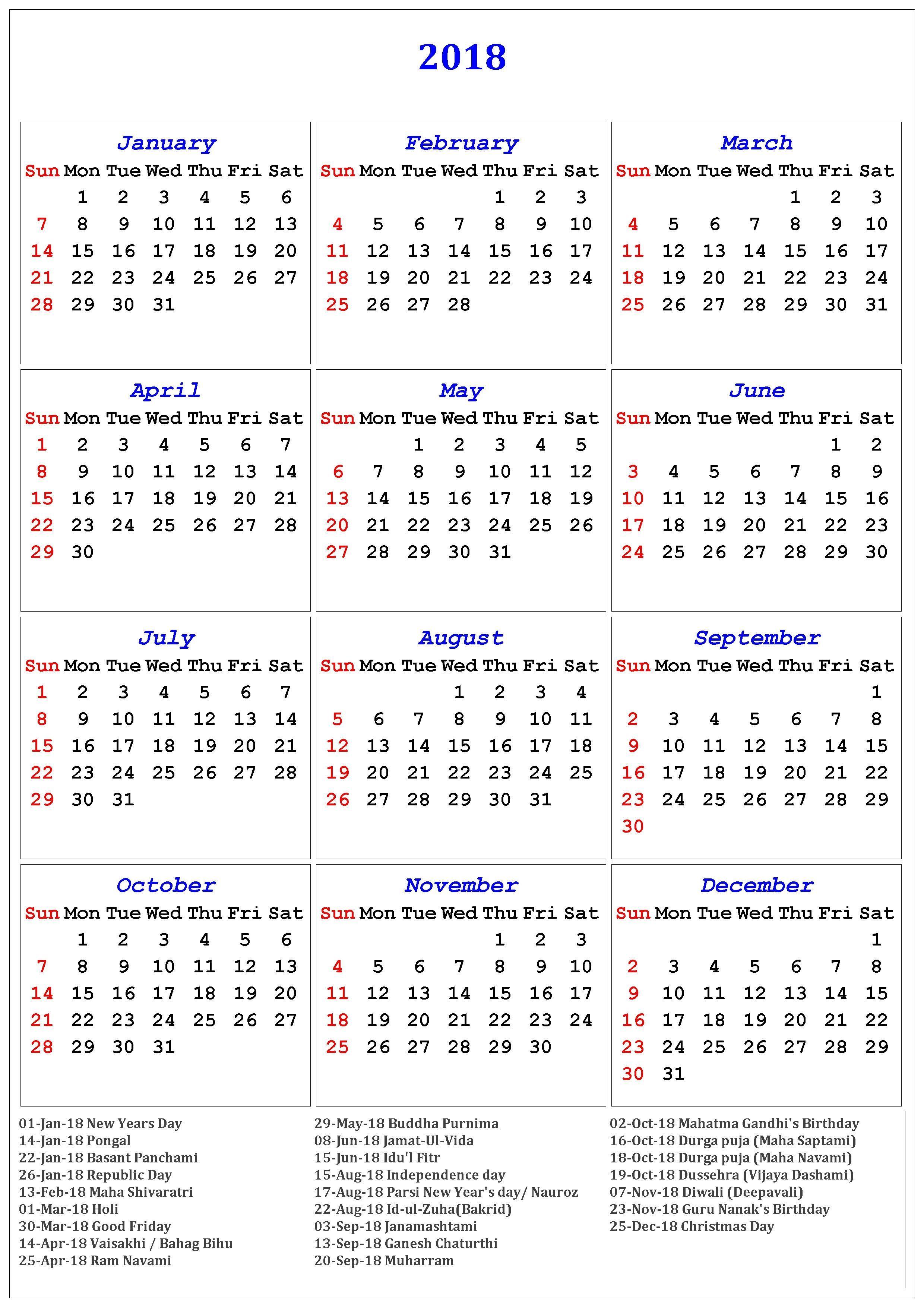 2020 And 2018 Calendar With Holidays 2018 Calendar Of Holidays | November Calendar | November calendar