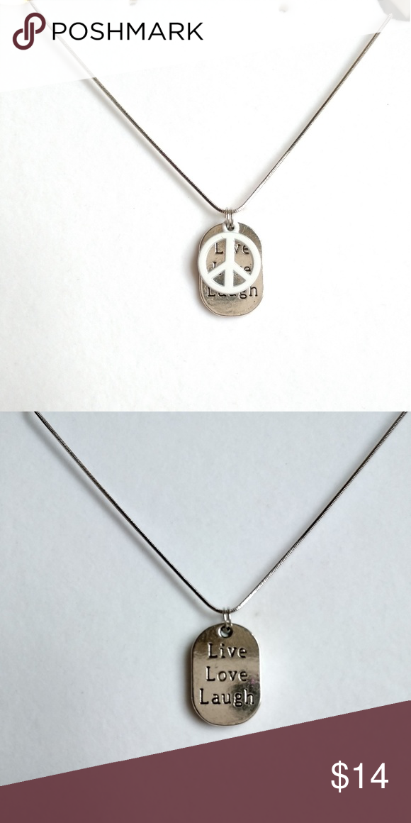 Peace live love laugh necklace 18 sterling silver chain peace sign peace live love laugh necklace aloadofball Gallery