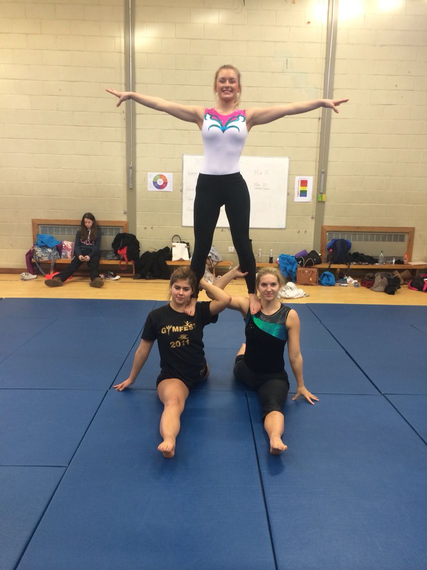 IGC training - stand on shoulders in splits  Acro yoga poses
